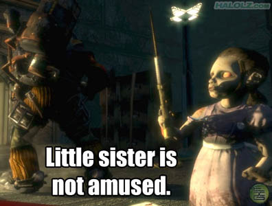 Little sister is not amused.