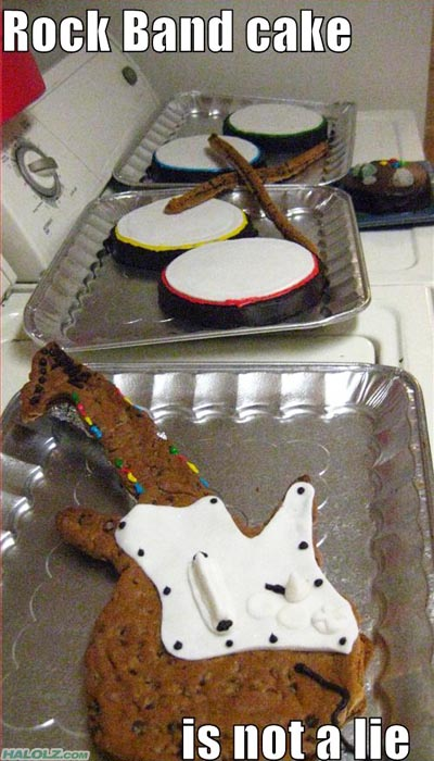 Rock Band cake is not a lie