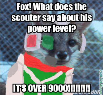 Fox! What does the scouter say about his power level?