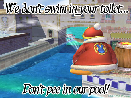 We don't swim in your toilet… Don't pee in our pool!