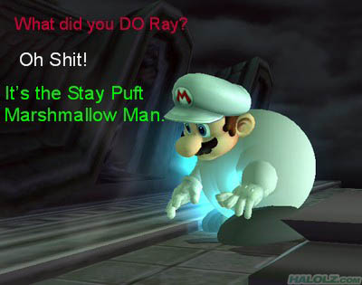 What did you DO Ray? Oh Shit! It's the Stay Puft Marshmallow Man.