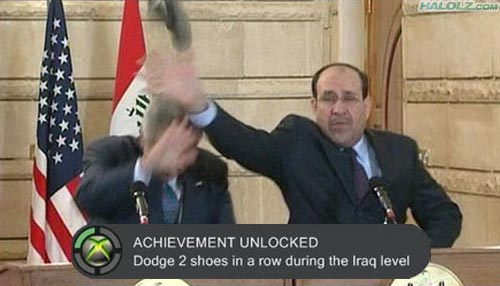 ACHIEVEMENT UNLOCKED - Dodge 2 shoes in a row during the Iraq level