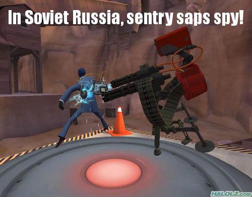 In Soviet Russia, sentry saps spy!