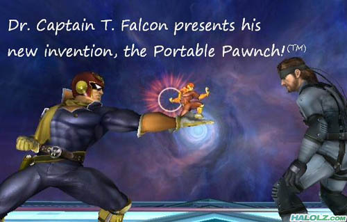Dr. Captain T Falcon presents his new invention, the Portable Pawnch!(TM)