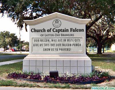Church of Captain Falcon Sign