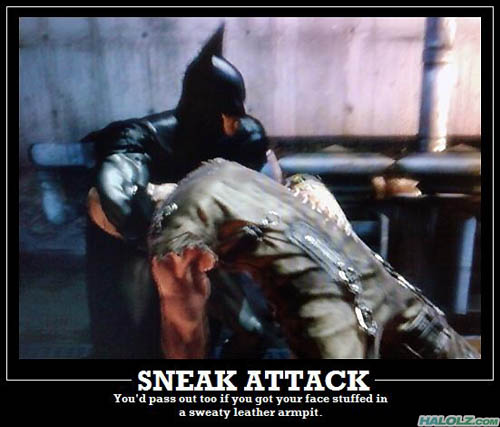 SNEAK ATTACK - You'd pass out too if you got your face stuffed in a sweaty leather armpit.