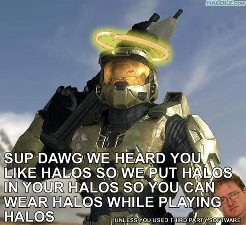SUP DAWG WE HEARD YOU LIKE HALOS SO WE PUT HALOS IN YOUR HALOS SO YOU CAN WEAR HALOS WHILE PLAYING HALOS (UNLESS YOU USED THIRD PARTY SOFTWARE)