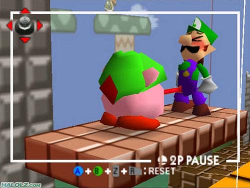 Kirby Tongues Luigi