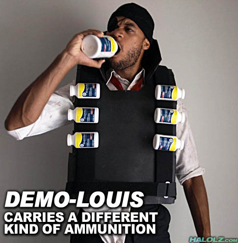 DEMO-LOUIS CARRIES A DIFFERENT KIND OF AMMUNITION