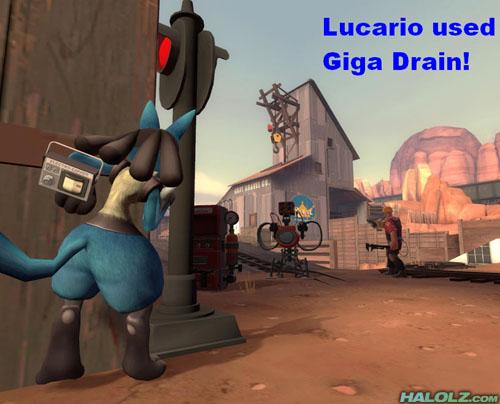 Lucario used Giga Drain!