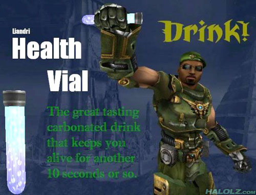 Liandri Health Vial - Drink! - The great tasting carbonated drink that keeps you alive for another 10 seconds or so.