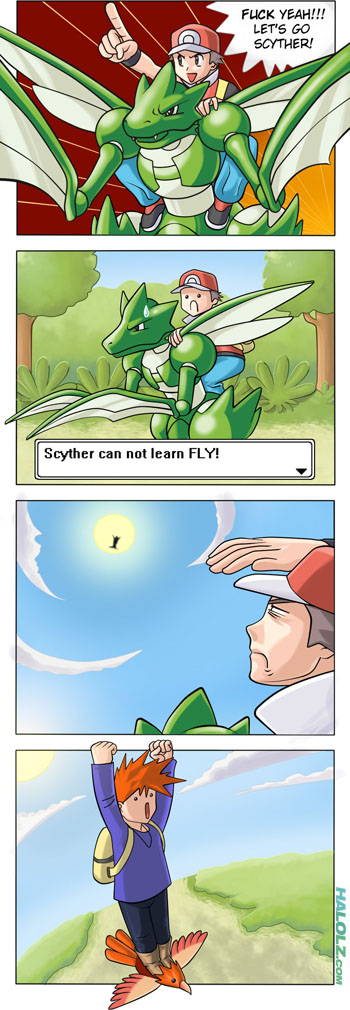 Scyther can not learn FLY! (Comic)