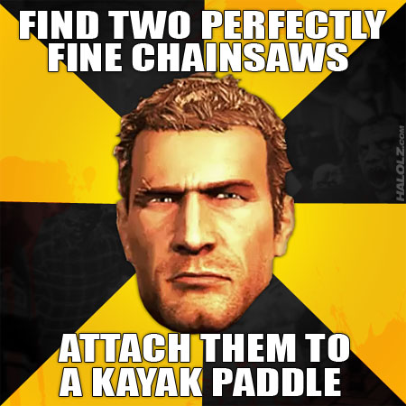 FIND TWO PERFECTLY FINE CHAINSAWS - ATTACH THEM TO A KAYAK PADDLE