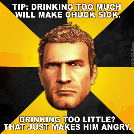 TIP: DRINKING TOO MUCH WILL MAKE CHUCK SICK. DRINKING TOO LITTLE? THAT JUST MAKES HIM ANGRY.