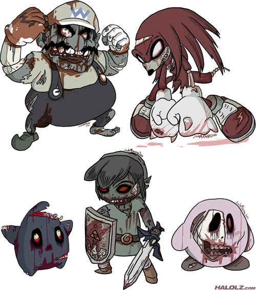 Video Game Zombies - Wario, Knuckles, Luma, Toon Link, Kirby