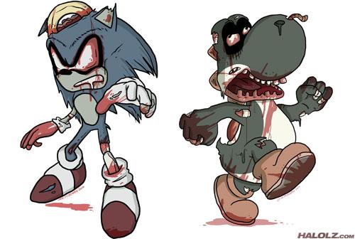 Sonic the Hedgehog and Yoshi Zombies (Halloween)