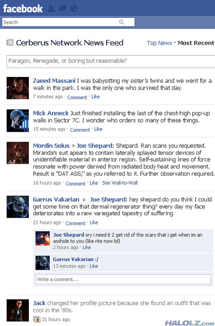 Commander Shepard's Facebook Page