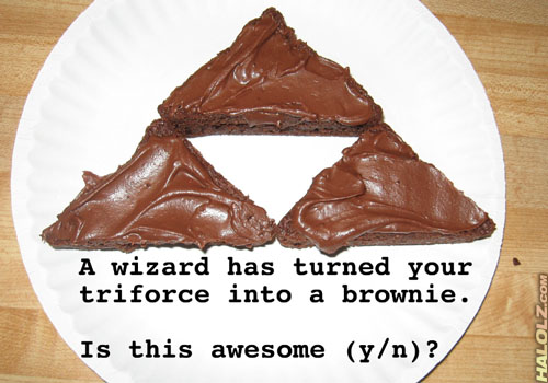 A wizard has turned your triforce into a brownie. Is this awesome (y/n)?
