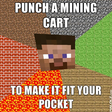 PUNCH A MINING CART TO MAKE IT FIT IN YOUR POCKET