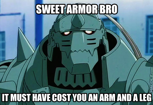SWEET ARMOR BRO IT MUST HAVE COST YOU AN ARM AND A LEG