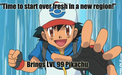 """Time to start over fresh in a new region!"" Brings LVL 99 Pikachu"