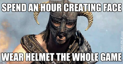 SPEND AN HOUR CREATING FACE WEAR HELMET THE WHOLE GAME