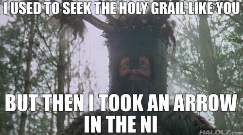 I USED TO SEEK THE HOLY GRAIL LIKE YOU BUT THEN I TOOK AN ARROW TO THE NI